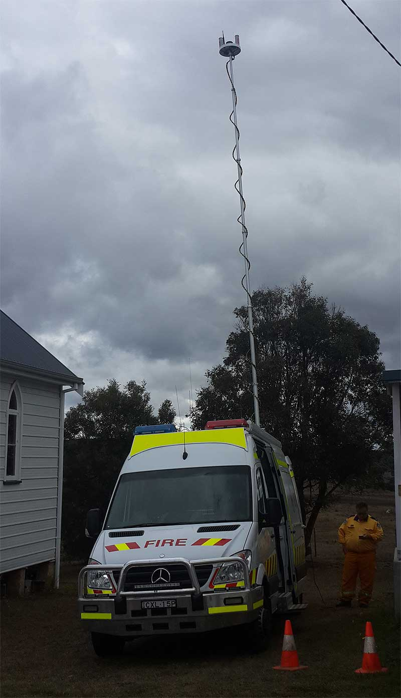 Using the G Spotter MiMo Sttuby antennas to receive High speed 4g signal from over 40'ks away from a tower, the powerful WiFi panels were able to provide high speed internet signal into the community hall. Locals were then able to operate 8 laptops to complete their online Bushfire assesment.